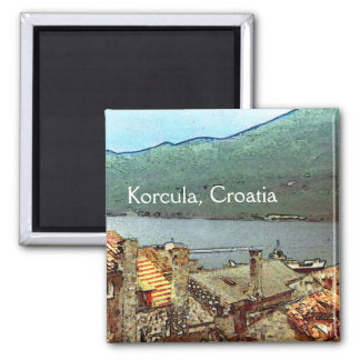 Rooftops in Korcula Magnets