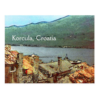Rooftops in Korcula Post Card
