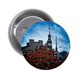Rooftops in Old Quebec Pinback Buttons