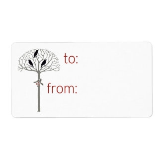 Rook and Holly Christmas Holiday Gift Tag Labels
