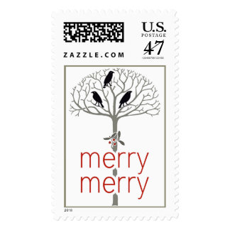 Rook and Holly Christmas Holiday Postage Stamps