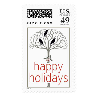 Rook and Holly Happy Holidays Postage Stamps