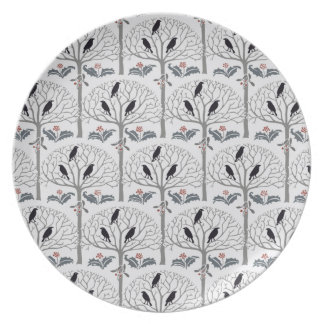 Rook and Holly Pattern Christmas Holiday Plate