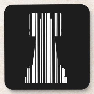 ROOK CHESS PIECE BAR CODE Game Barcode Pattern Coaster