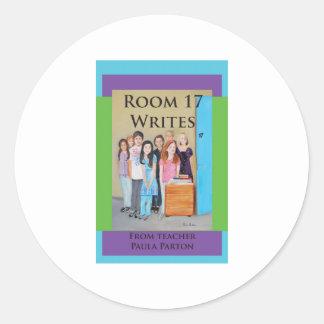 room 17 writes cover classic round sticker