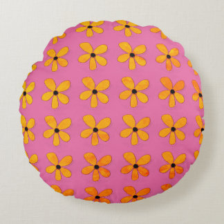 Room-Accents-Black-Eyed-Susan(c)Pink-Gold-Round Round Pillow