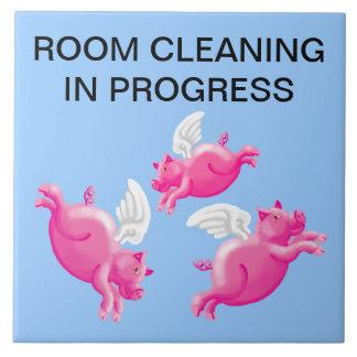 Room cleaning in progress ceramic tile