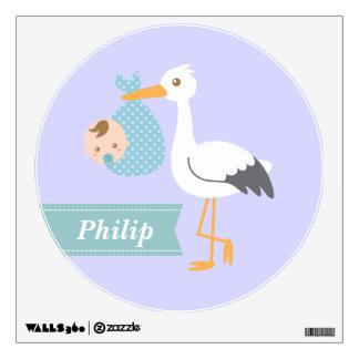 Room Decoration - Stork Delivers Cute Baby Boy Wall Sticker
