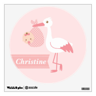Room Decoration - Stork Delivers Cute Baby Girl Wall Decal
