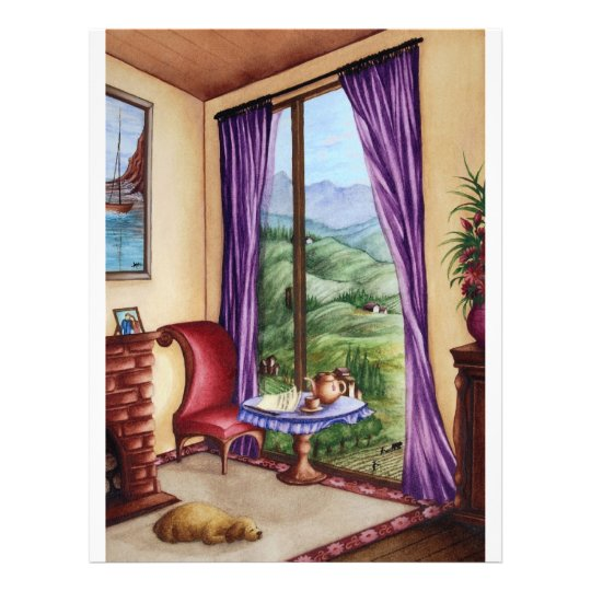 Room with a View Watercolor Painting Flyer