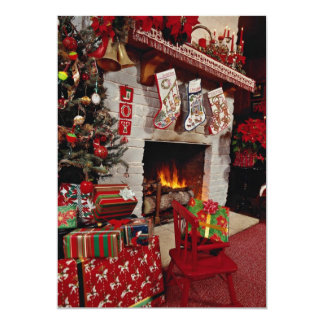Room with stone fireplace, Christmas setting Card