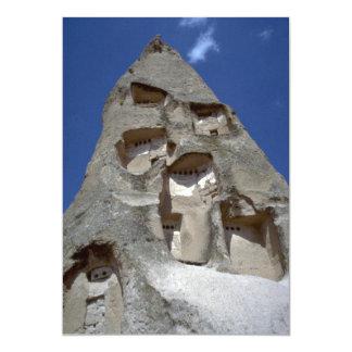 "Rooms carved into conical rock, Cappadocia rock fo 5"" X 7"" Invitation Card"