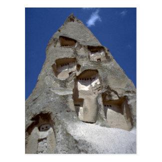 Rooms carved into conical rock, Cappadocia rock fo Postcard