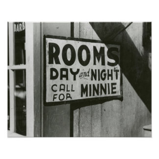 Rooms For Rent, 1939. Vintage Photo Poster