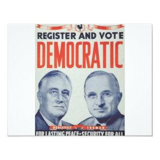 """Roosevelt 1940 - Truman Invitación 4.25"""" X 5.5"""""""