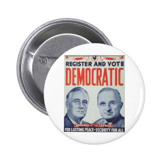 Roosevelt 1940 - Truman Pin Redondo De 2 Pulgadas