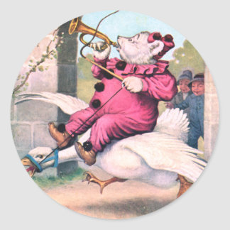 Roosevelt Bear as a Clown Riding On Mother Goose Classic Round Sticker