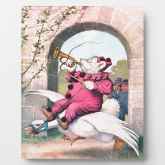 Roosevelt Bear as a Clown Riding On Mother Goose Plaques