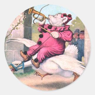 Roosevelt Bear as a Clown Riding On Mother Goose Sticker