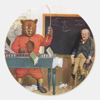 Roosevelt Bear as a Substitute Teacher Classic Round Sticker