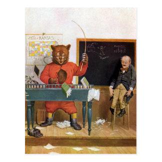Roosevelt Bear as a Substitute Teacher Postcard