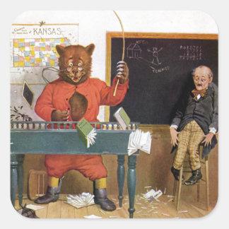 Roosevelt Bear as a Substitute Teacher Square Sticker