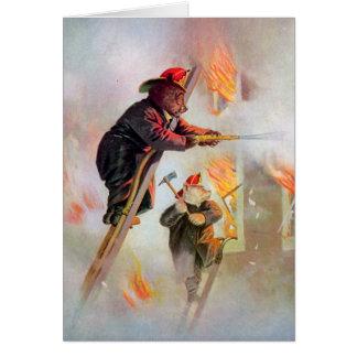 Roosevelt Bear Firefighters Card
