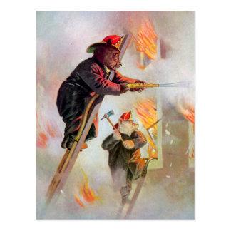 Roosevelt Bear Firefighters Postcard