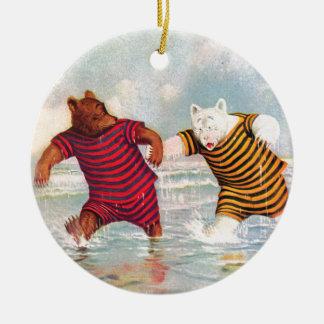 Roosevelt Bears at Atlantic City Beach Ceramic Ornament
