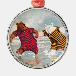 Roosevelt Bears at Atlantic City Beach Metal Ornament