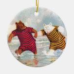 Roosevelt Bears at Atlantic City Beach Double-Sided Ceramic Round Christmas Ornament