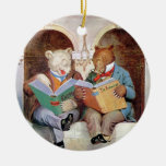 Roosevelt Bears at the Public Library Double-Sided Ceramic Round Christmas Ornament