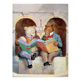 Roosevelt Bears at the Public Library Postcard