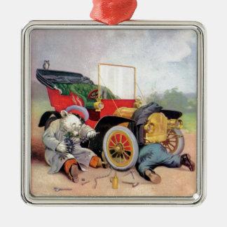 Roosevelt Bears Car Mechanics. Metal Ornament