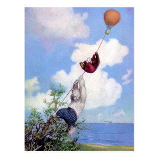 Roosevelt Bears Descend from Hot Air Ballon Postcard