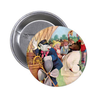 Roosevelt Bears Fly in  Hot Air Balloon 2 Inch Round Button