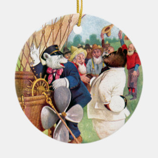 Roosevelt Bears Fly in  Hot Air Balloon Ceramic Ornament