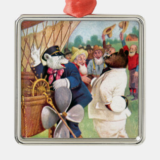 Roosevelt Bears Fly in  Hot Air Balloon Metal Ornament