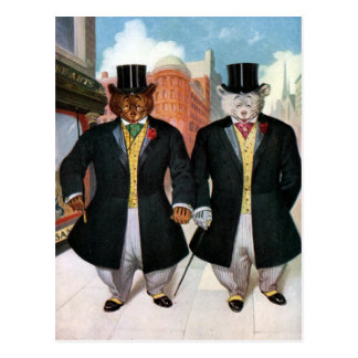 Roosevelt Bears On the Town In New York Postcard
