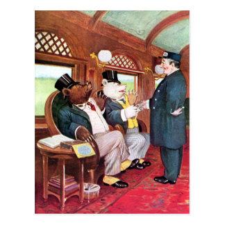 Roosevelt Bears Ride on a Train Postcard