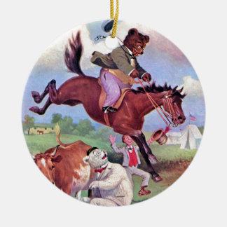 Roosevelt Bears Riding Rodeo Horses Ceramic Ornament