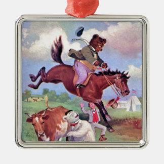 Roosevelt Bears Riding Rodeo Horses Metal Ornament