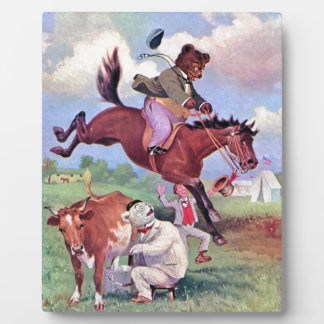 Roosevelt Bears Riding Rodeo Horses Plaques