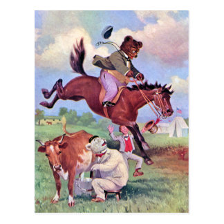 Roosevelt Bears Riding Rodeo Horses Postcard
