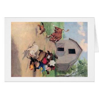 Roosevelt Bears Run from  A  Bull Down on the Farm Card