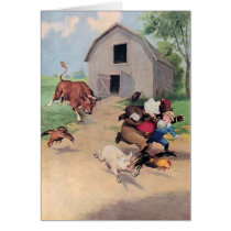 Roosevelt Bears Run from  A  Bull Down on the Farm Card