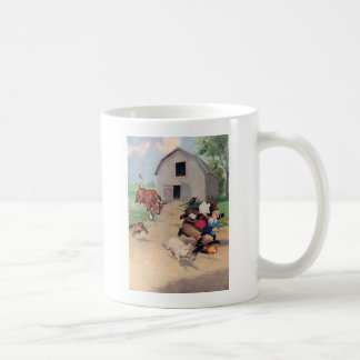 Roosevelt Bears Run from  A  Bull Down on the Farm Coffee Mug
