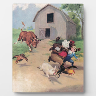 Roosevelt Bears Run from  A  Bull Down on the Farm Display Plaque