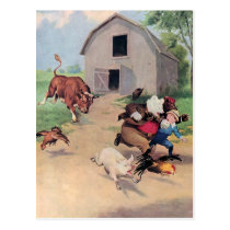 Roosevelt Bears Run from  A  Bull Down on the Farm Postcard