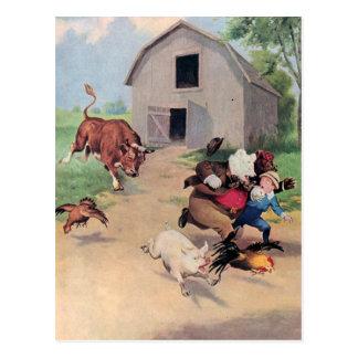 Roosevelt Bears Run from  A  Bull Down on the Farm Postcard